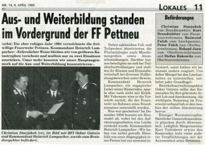 Bericht Jahreshauptversammlung 1995